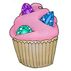 Lagoon House Pink Gem Cupcake Hand Drawn Temporary Tattoo