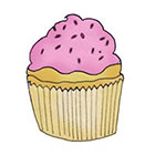Lagoon House Little Pink Cupcake Hand Drawn Temporary Tattoo