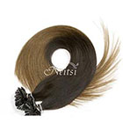 AboutHair U-Tip Black and Ash Brown Ombre 100% Human Hair Extensions - Pre Bonded U Nail Tip Extensions