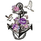 InknArt VIntage Illustration Anchor Bird Floral tattoo - InknArt Temporary Tattoo - wrist tattoo body sticker fake tattoo quote