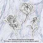 Tatzarazzi Floral Temporary Tattoo Flowers Bouquet Peony Nature Black Gray Monochrome Simple Minimalist Line Drawing Illustration Hipster Original