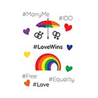 TattooWhatever Love Wins Rainbow Temporary Tattoo Set