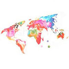 InknArt 2pcs Colored World Map tattoo - InknArt Temporary Tattoo - wrist quote tattoo body sticker fake tattoo wedding tattoo small tattoo