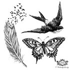 Wickedly Lovely Wings, Assorted set 2, Feather with birds tattoo, butterfly tattoo, swallow tattoo Skin Art, Body art, Temp Tattoos, includes 3 tattoos.
