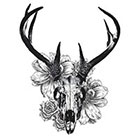 WildLifeDream Deer skull and flowers - Temporary tattoos