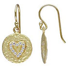 Allura 0.48 CT. T.W. Cubic Zirconia Heart Charm Earrings in Yellow Rhodium Plated Sterling Silver