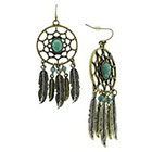 Target Dangle Earring with Openwork Circle and Feather Casting Acrylic Stones and Beads - Gold/Turquoise
