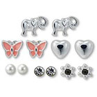 Target Set of 6 Stud Earrings Butterfly Flower - Multicolor