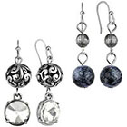Target Rhodium Set of 2 Pairs Artisan and Crystal Beads Dangle Drop Earrings - Silver/Clear/Blue