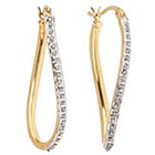 Diamond Twist Hoop Earrings with Accents Sterling Silver - Gold
