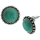 Target Textured Button Earrings with Semi-Precious Stone Cab - Turquoise