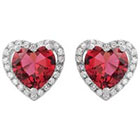 Journee Collection 3 1/8 CT. T.W. Heart Cut Cubic Zirconia Basket Set Heart Stud Earrings in Sterling Silver - Red