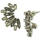 Target Stone and Ear Crawler Earrings with Clip - Gray
