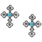 Target Sterling Silver Round Cut Turquoise Stud Handmade Cross Earrings