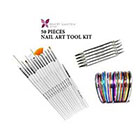 Beaute Galleria Beaute Galleria - 50pcs Bundle Nail Art Tool Kit: 5pcs Dotting Pen (10 Sizes) + 15pcs Acrylic Nail Art Design Painting Detailing Brushes + 30pcs Mixed Color Stripping Tapes