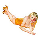 Taboo Tattoo Summer Pin Up Girl in Yellow Swimsuit Temporary Tattoo, various sizes available