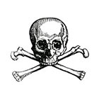 Taboo Tattoo 2 Skull and Crossbones Temporary Tattoo, various sizes available Pirate Halloween Gothic