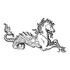Taboo Tattoo 2 Vintage Mythical Seahorse Temporary Tattoo, various sizes available