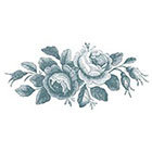 Taboo Tattoo 2 Vintage Roses in Delft Blue Temporary Tattoo, various sizes available