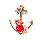 Taboo Tattoo 2 Elegant Watercolor Anchor with Roses Temporary Tattoo, various sizes available Tribal