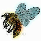 Atattood Medium Size Watercolor Bee Temporary Tattoo