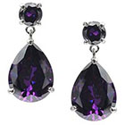 Journee Collection 18 3/8 CT. T.W. Pear Cut CZ Basket Set Dangle Earrings in Brass - Purple