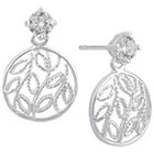 Target Sterling Silver Drop Earrings, Circle Filigree with Cubic Zirconia - Silver