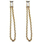 Stella Valle Leave A Little Sparkle Earrings with chain and Swarovski Crystals - Gold
