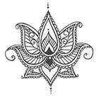 A Shine To It Lotus Temporary Tatto With Paisley Henna Style Petals Hand Drawn Illustration