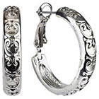 Target Rhodium Hoop Earrings with Heart Design - Silver