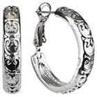 Target Rhodium Hoop Earrings with Heart Design - Silver