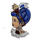 Atattood Tattoo'd Girl Pirate Temporary Tattoo