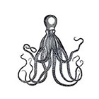 Taboo Tattoo 2 Vintage Steampunk Octopus Temporary Tattoo, various sizes available Design 1