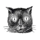Taboo Tattoo 2 Vintage Cat with Clock Eyes Temporary Tattoo, various sizes available Steampunk Odd