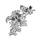 Taboo Tattoo 2 Vintage Engraved Thistle Floral Temporary Tattoo, various sizes and colors available Scotland Flower