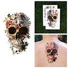 Tattify Color Skull Collage Flowers Garden Fern Body Art Temporary Tattoo (Set of 2)