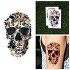 Tattify Colorful Vintage Decoupage Skull Collage Cupid Turkey Dog Body Art Temporary Tattoo (Set of 2)