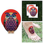 Tattify Colorful Geometric Owl Pixelated Stylized Bird Temporary Tattoo (Set of 2)