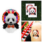 Tattify Colorful Geometric Panda Bear With Bowtie Pixelated Colorful - Temporary Tattoo (Set of 2)