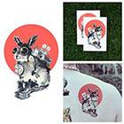 Tattify Steampunk Time Travel Bunny Rabbit Goggles Boots Clock Temporary Tattoo (Set of 2)