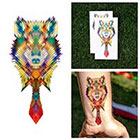 Tattify Colorful Geometric Wolf With Neck Tie Pixelated Body Art Temporary Tattoo (Set of 2)