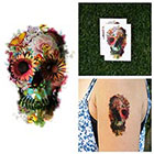 Tattify Colorful Garden Skull Collage Flowers Butterfly Nature Body Art Temporary Tattoo (Set of 2)