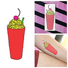 Tattify Colorful Cartoon Milkshake Cherry Dessert Fun Body Art Temporary Tattoo (Set of 2)