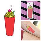 Tattify Colorful Cartoon Milkshake Cherry Dessert Fun Body Art Temporary Tattoo (Set of 2)