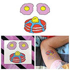Tattify Colorful Cartoon Pancake Face Eggs Breakfast Butter Syrup Body Art Temporary Tattoo (Set of 2)