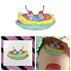 Tattify Colorful Cartoon Banana Split Ice Cream Dessert Cherry On Top Body Art Temporary Tattoo (Set of 2)