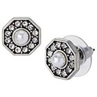 Target Pearl and Crystal Button Earrings - Silver