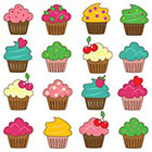 Ombeyond TEMPORARY TATTOO - Birthday Party Set of 16 Cupcakes or Vintage Rose / Lotus & Dragonfly
