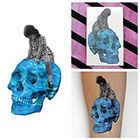 Tattify Vintage Photo Girl Riding Water Skull Blue Superimpose Body Art Temporary Tattoo (Set of 2)