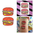 Tattify Colorful Cartoon Cheesburger Hamburger Fast Food Burger Body Art Temporary Tattoo (Set of 2) in